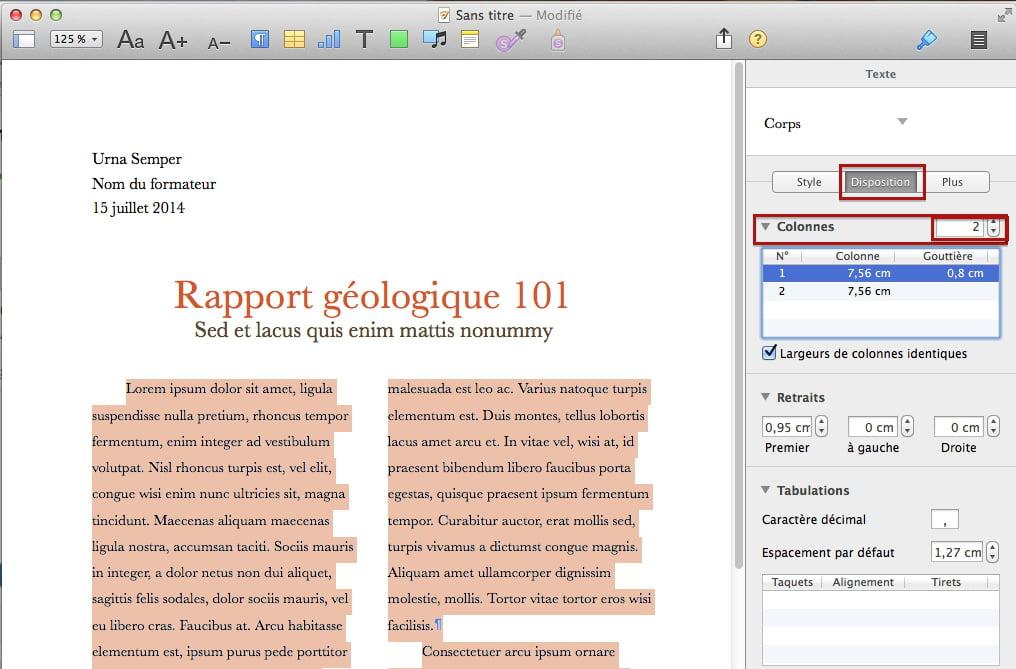 comment faire 2 colonnes sur pages