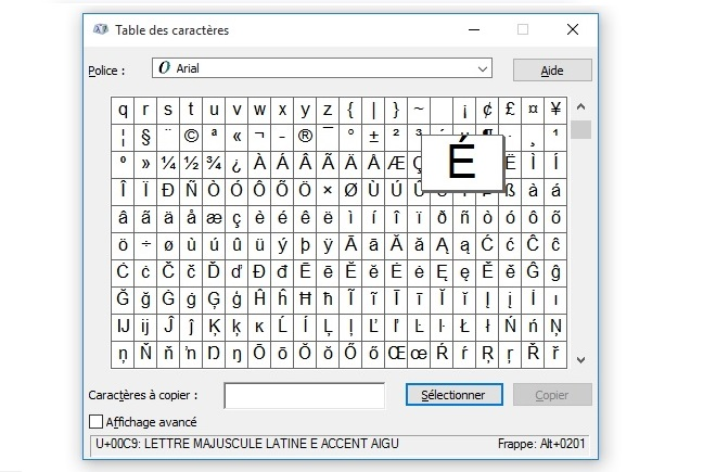 comment faire e en majuscule sur word